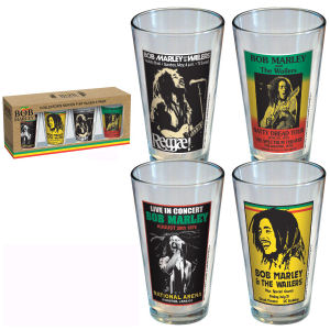 Bob Marley Poster Pint Glass 4-Pack