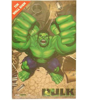 Incredible Hulk Fists Tin Wall Sign