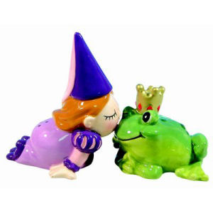 Westland Giftware Mwah! Princess and Frog Kiss Kissing Salt and Pepper Shakers