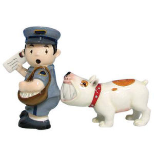 Mailman and Dog Salt and Pepper Shaker Set. These sets are held together with magnets. Made of ceramic with glossy finish. Measures 3.75 Inches high. Hand wash only.