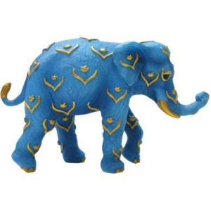 Westland Giftware Tusk Blue and Gold Mini Elephant Figurine