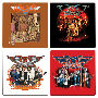 Aerosmith 4 Piece Wood Coaster Set. Set includes 4 coasters featuring different designs. Laminated nonslip corked back wood coasters
