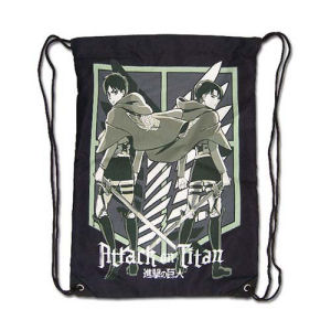 Attack on Titan Eren and Levi Black Drawstring Bag