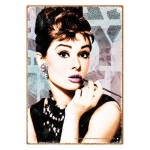 Breakfast at Tiffanys Audrey Hepburn Close Up Tin Sign