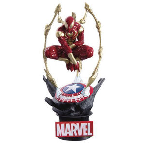 Marvel Infinity War Iron Spider DS015 D-Select 6 Inch Statue - Previews Exclusive.  Iron Spider perched atop a Marvel branded diorama base.