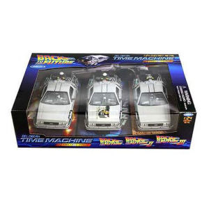 Back to the Future Movie Trilogy DeLorean 1981 Time Machine Die-Cast 1/24th Scale Vehicle 3-Pack