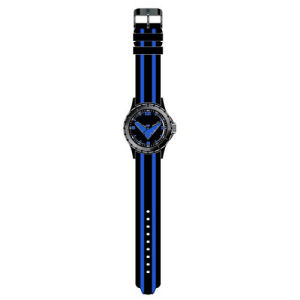 Nightwing Classic Logo Black with Blue Stripes Rubber Strap Watch