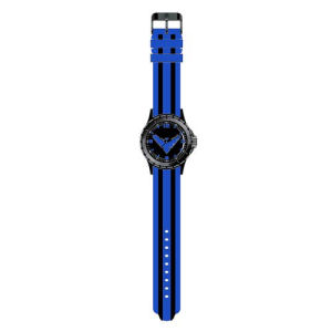 Nightwing Classic Logo Blue with Black Stripes Rubber Strap Watch