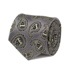 Batman Gray and Yellow Paisley Italian Silk Tie