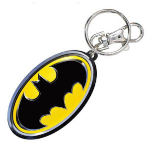 Batman Logo Colored Pewter Key Chain