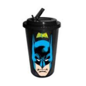 Batman Face Plastic 16 Ounce Flip Straw Travel Cup