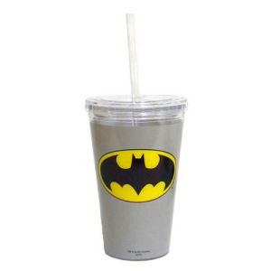 Batman Gray 16 Ounce Travel Cup with Straw