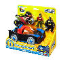 Imaginenext Batman Batmobile and Cycle Vehicle Playset. Press the button and the bat mobile lights up. Fires disks out the front at Gotham City villians.