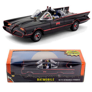 Batman Classic TV Series 10 Inch Batmobile with Batman and Robin Mini Bendable Figures