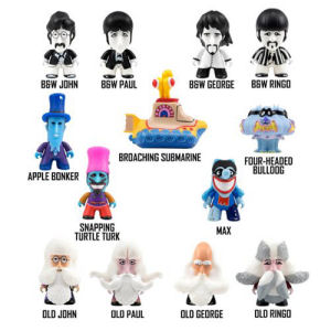 Beatles Yellow Submarine Series 2 Titans Master Carton. Master carton contains 4 display trays containing 18 figures for a total of 72. Each mini-figure measures approximately 3 inches and comes blind-boxed.