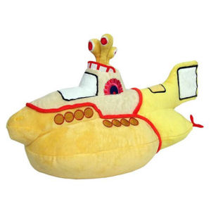 Beatles Yellow Submarine Plush. Squeezable plush measures about 14 inches long by 8 inches tall by 5 inches wide. Ages 3 and up.