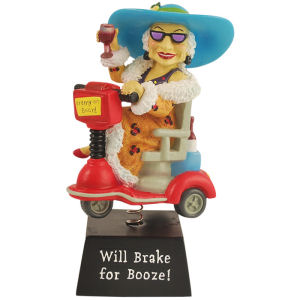 Biddys Will Brake for Booze Bobble Figurine