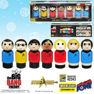 The Big Bang Theory / Star Trek The Original Series Pin Mate Wooden Figure Set of 7 - Convention Exclusive