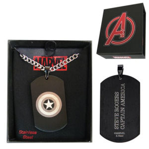 Captain America Dog Tag and Chain Necklace