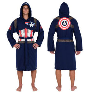 Marvel Captain America Blue Jersey Bathrobe