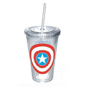 Captain America Shield Cup with Straw