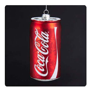 Coca-Cola Can 4.75 Inch Glass Holiday Ornament