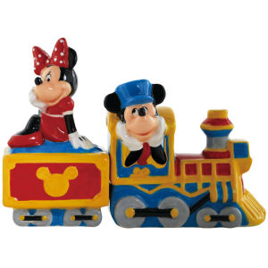 Disney Mickey and Friends Mickey and Minnie Choo Choo Salt and Pepper Shakers
