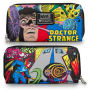 Doctor Strange Print Zip-Around Wallet. It measures about 8 inches wide by 4 inches tall. All Loungefly items are vegan friendly (unless otherwise noted).