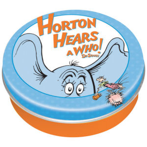 Dr. Suess Horton Circle Mini Tin Box. Features full color graphics all around the outside and measures appoximately 2 Inches across.