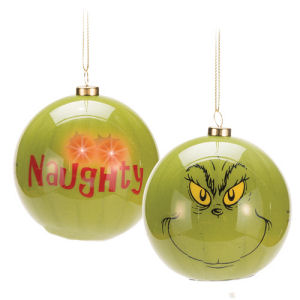 Dr. Seuss How the Grinch Stole Christmas Grinch Big Face Light-Up Ball Ornament
