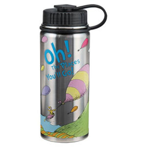 Dr. Seuss Oh the Places Youll Go 18 Ounce Vacuum Insulated Stainless Steel Water Bottle