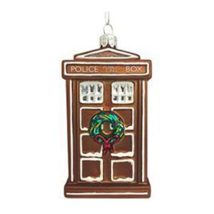 Doctor Who Gingerbread TARDIS 4.5 Inch Glass Ornament