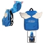 Fairy Tail Happy Hooded Backpack. Hooded Backpack measures about 16.5 inches tall by 14 inches wide. backpack has hood and wings.