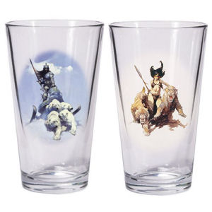 Frazetta Silver Warrior and The Huntress Pint Glass Set.  Glasses hold 16 ounces.
