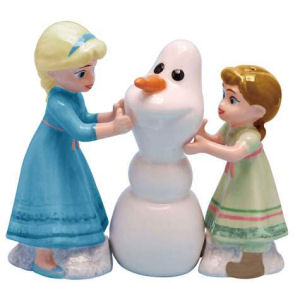 Disney Frozen Elsa and Anna Build a Snowman Salt and Pepper Shakers