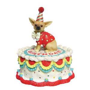 Westland Giftware Happy Birthday Chihuahua Cake Animated Musical Figurine