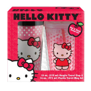 Hello Kitty Plastic Travel Mug and 18 Ounce Acrylic Cup Set