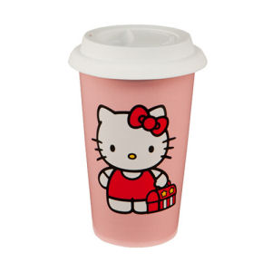 Hello Kitty 12 Ounce Double Wall Ceramic Travel Mug