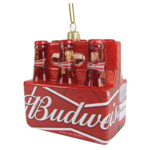 Budweiser Glass Bottle 6-Pack 3.5 Inch Ornament