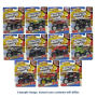 Hot Wheels Monster Jam 1/64th Scale 2017 Wave 5 Case. Case includes 12 individually packaged vehicles -  1 Grave Digger - 1 El Toro Loco Yellow - 1 Soldier Fortune (Camo Deco) - 1 Titan (Yellow) - 1 El Toro Loco (Chrome) - 2 Avenger MJWF 2017 Truck - 1 Ca