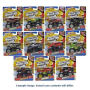 Hot Wheels Monster Jam 1/64th Scale 2017 Wave 7 Case. Case includes 12 individually packaged vehicles -  1 Son-uva Digger (Chrome) - 1 El Toro Loco Red - 1 Ice Cream Man (Color Treads) - 2 Titan 2017 WF deco - 1 Higher Education (Color Treads) - 2 Gas Mon