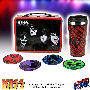 KISS Tin Tote Gift Set. Coasters measure 3.5 inches in diameter. Travel mug holds 16 ounces.
