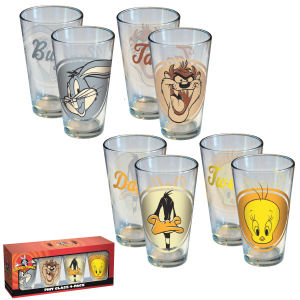Warner Brothers Looney Tunes Retro Head Shots Pint Glass 4-Pack