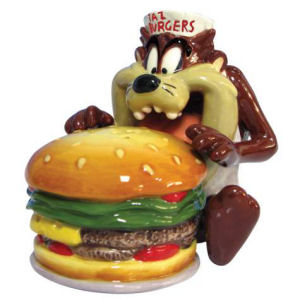 Warner Brothers Looney Tunes Taz eating Burger Salt and Pepper Shakers