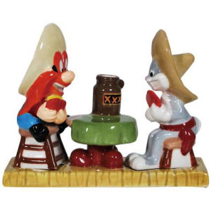 Warner Brothers Looney Tunes Yosemite Sam and Bugs Bunny Magnetic Salt and Pepper Shaker and Toothpick Holder