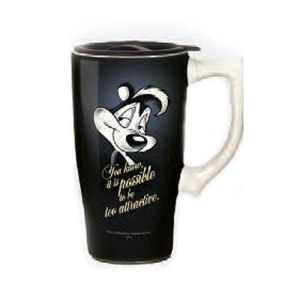 Looney Tunes Pepe Le Pew Black Travel Mug with Handle