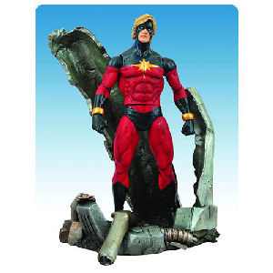 Marvel Select Captain Marvel Action Figure. Captain Marvel stand 7 inches tall surronded by a crashed Kree space ship. Mulitiple points of articulation.