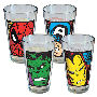 Marvel Close Up Pint Glass 4 Pack. Each glass has a close up shot of The Amazing Spider-Man - Captain America - The Incredible Hulk - The Invincible Iron Man.