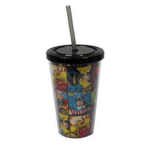 Marvel Comics Characters Grid 16 Ounce Cold Cup with Lid and Straw