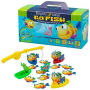 Playchest Games Go Fish. A memory matching game where you fish for colorful cards with a plastic pole. Includes fishing pole with suction-cup equipped worm - four boats - 35 fish cards. For ages 3 and up.